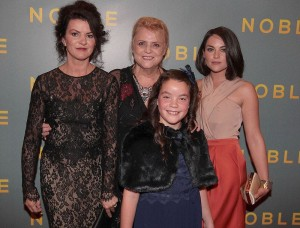 Christina Noble (Centre) with Actresses Deirdre O'Kane, Gloria Cramer Curtis and Sarah Greene, who play her in the film, at the Gala Screening of NOBLE in September 2014.